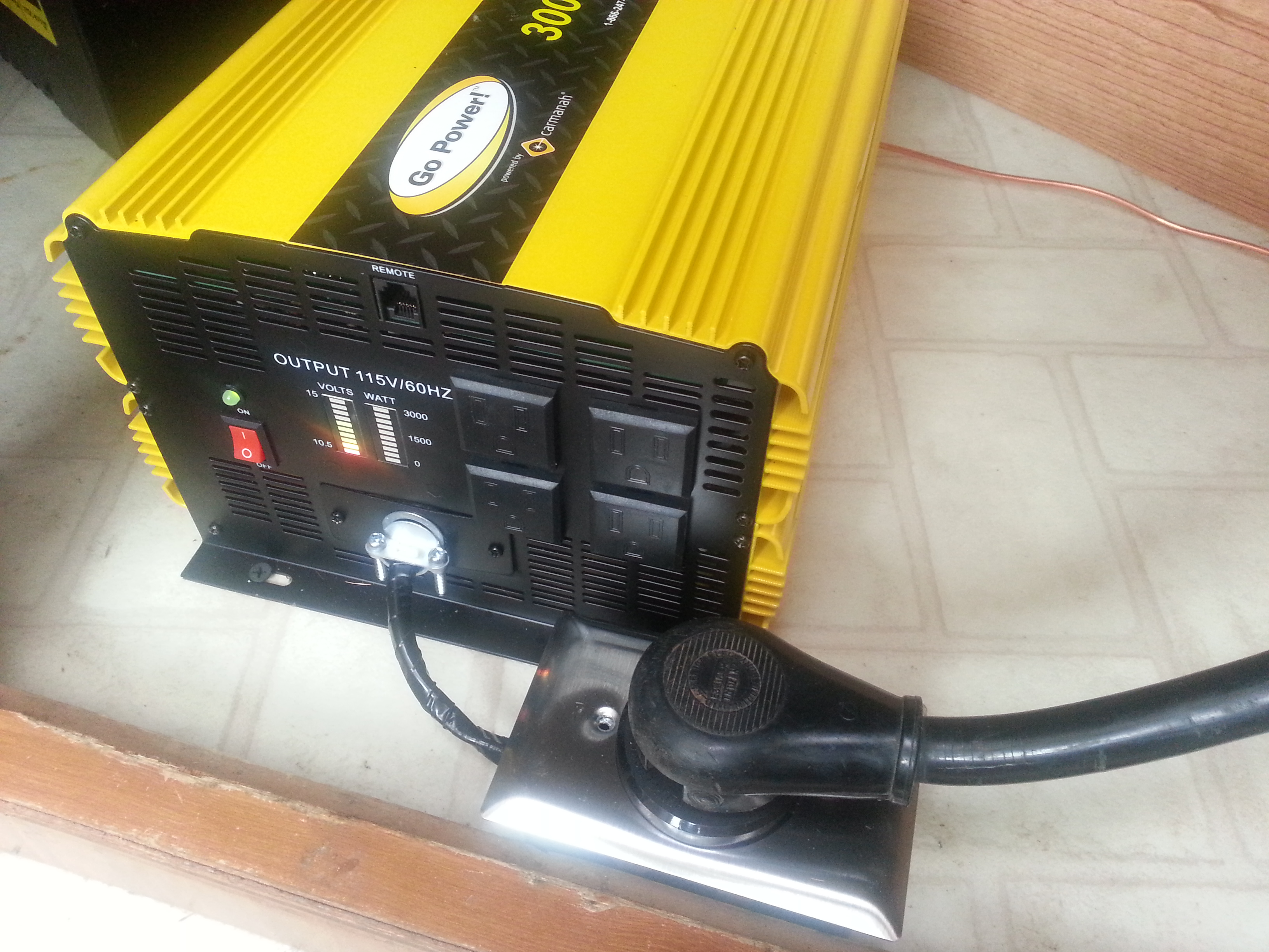 Adding Our 3000 Watt Go Power Inverter Sailing On Dry Land 30 Rv Outlet Wiring To Breaker Box Dc Amp Meter Diagram One Advantage Of Setting Up Added In This Way Is That No Wires Or Connections Are The Smaller Ac 10 Gauge Hot And Even